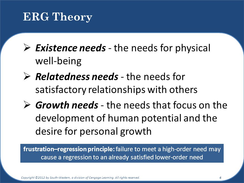 Existence needs - the needs for physical well-being