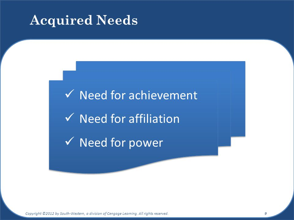 Acquired Needs Need for achievement Need for affiliation