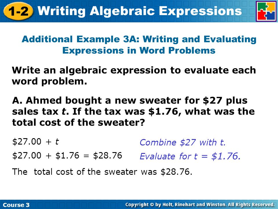 How to set up algebraic equations to match word problems