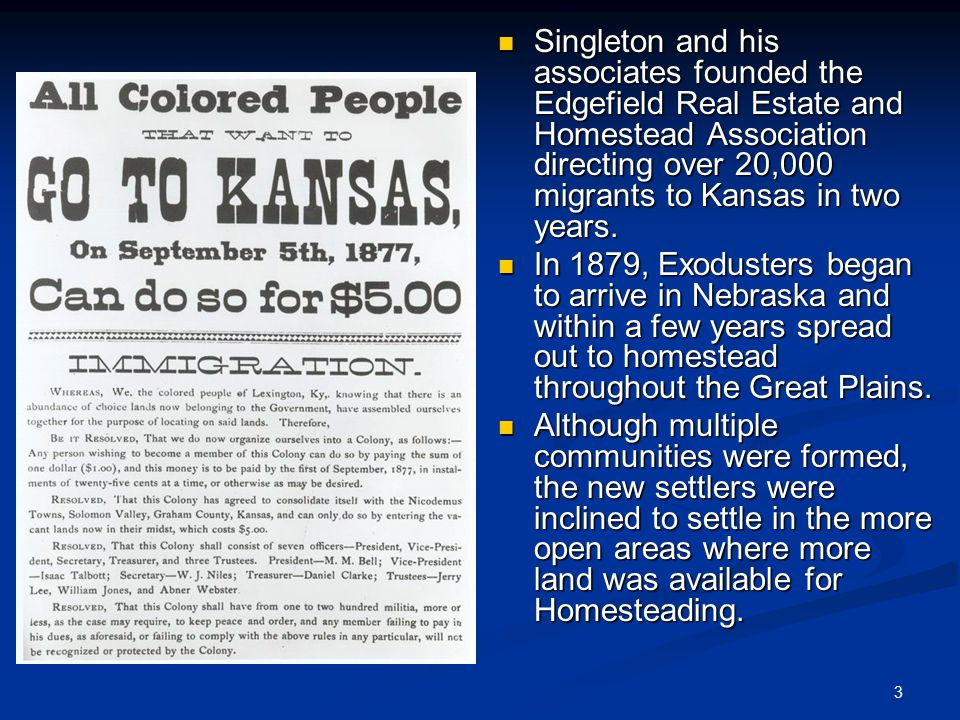 Exoduster movement the exoduster movement beginning in for Kansas homestead act