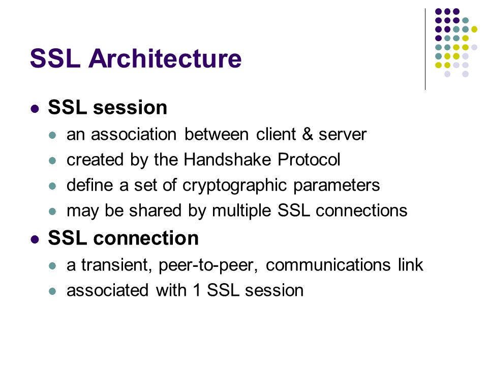 SSL Architecture SSL session SSL connection