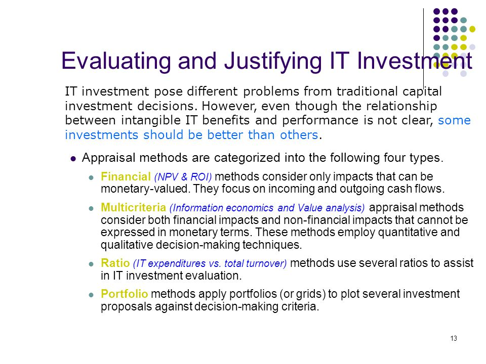 investment evaluation techniques List of evaluation methods  social return on investment : social return on investment (sroi) is an approach for organisations to measure social, environmental and .