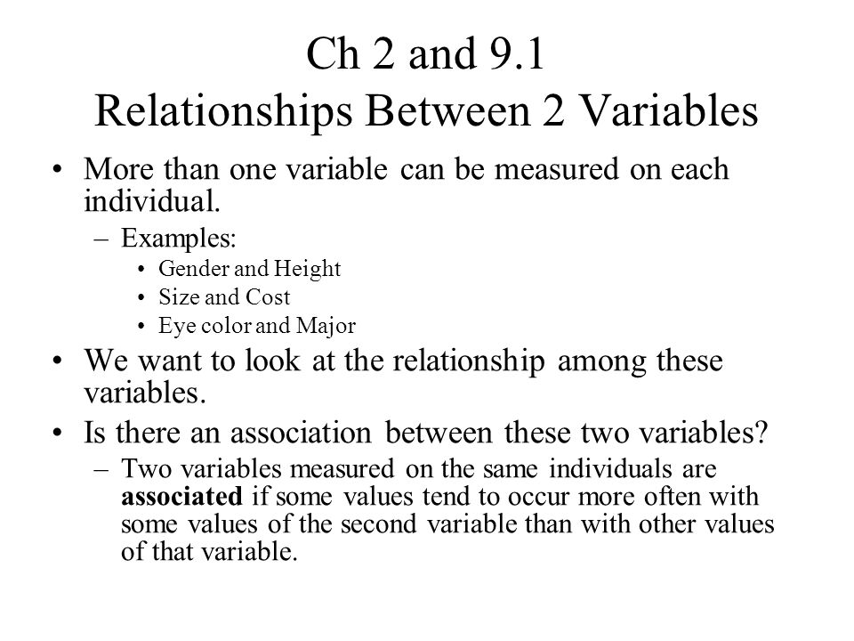 graphical presentation relationship between two variables examples