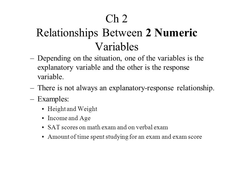 Ch 2 Relationships Between 2 Numeric Variables