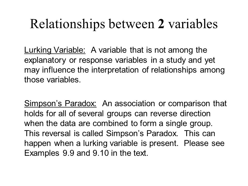 Relationships between 2 variables