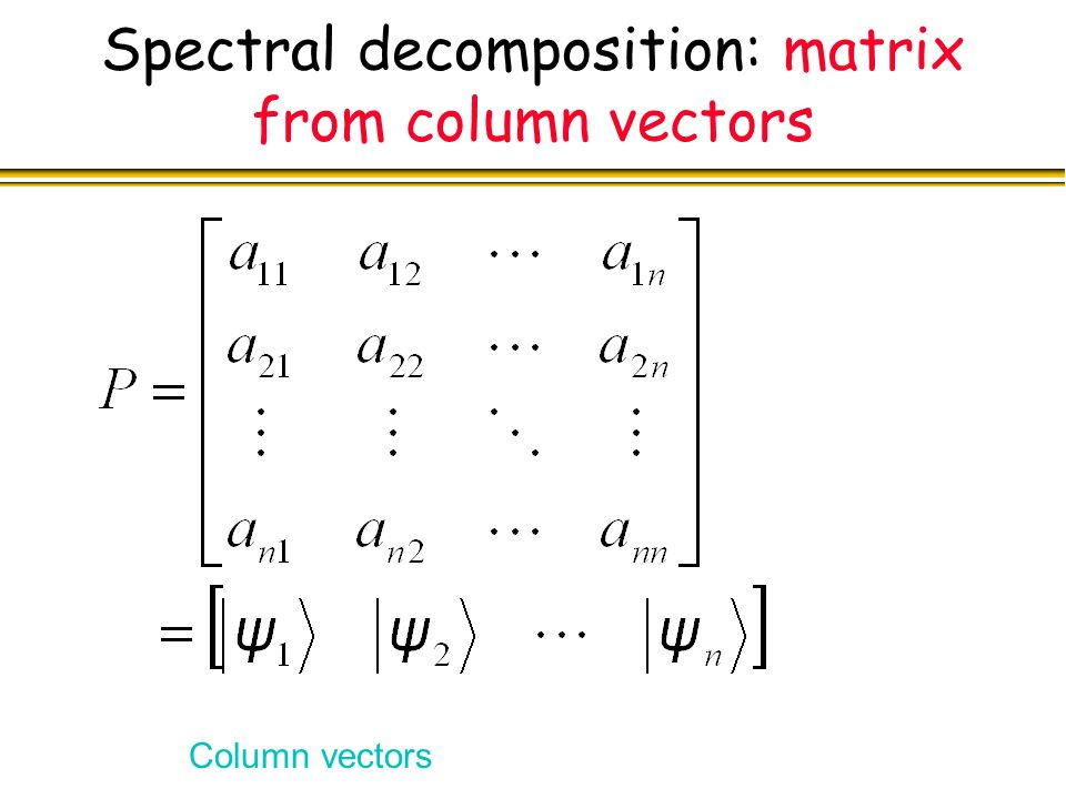 Spectral decomposition: matrix from column vectors