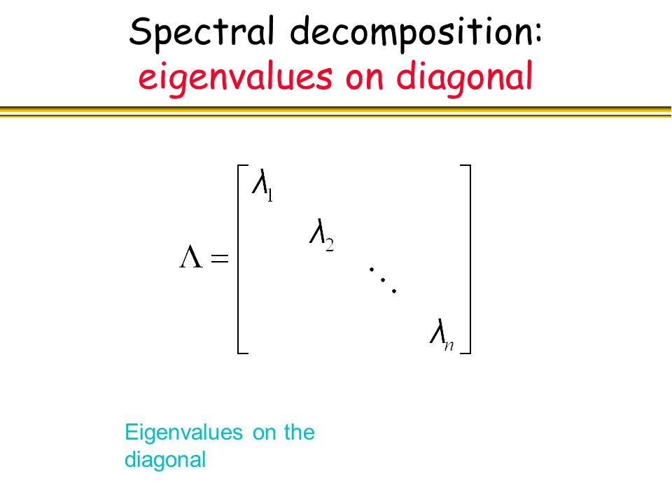 Spectral decomposition: eigenvalues on diagonal