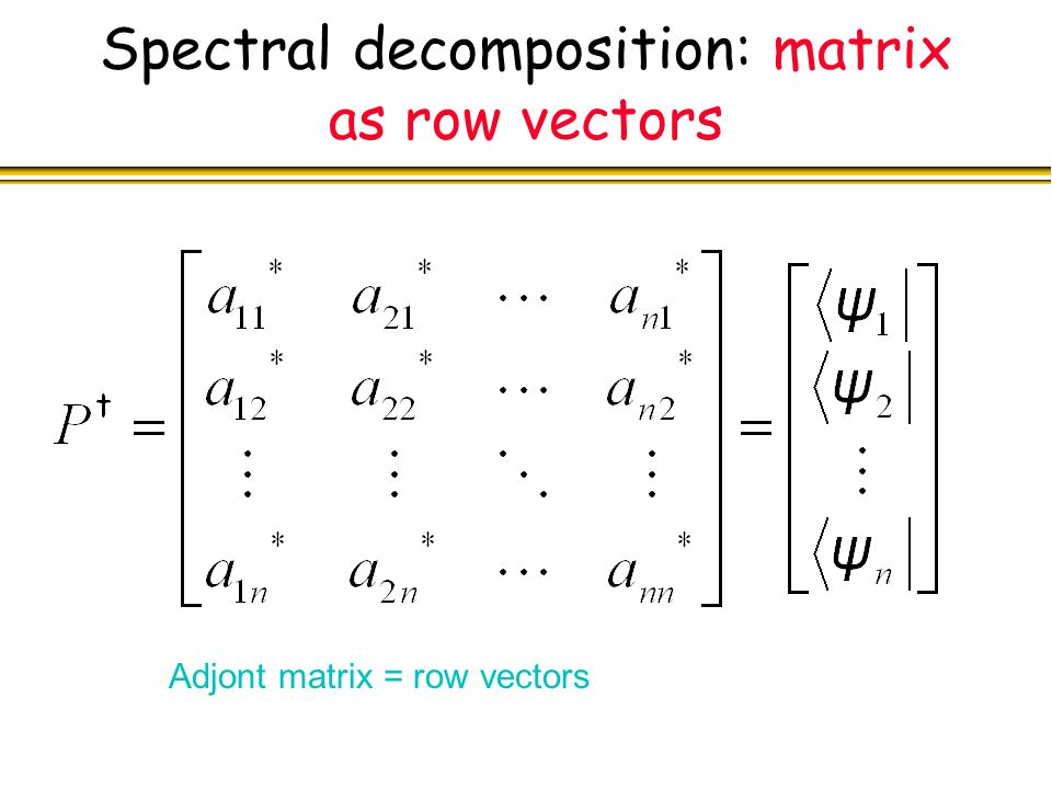 Spectral decomposition: matrix as row vectors