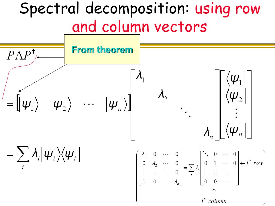 Spectral decomposition: using row and column vectors