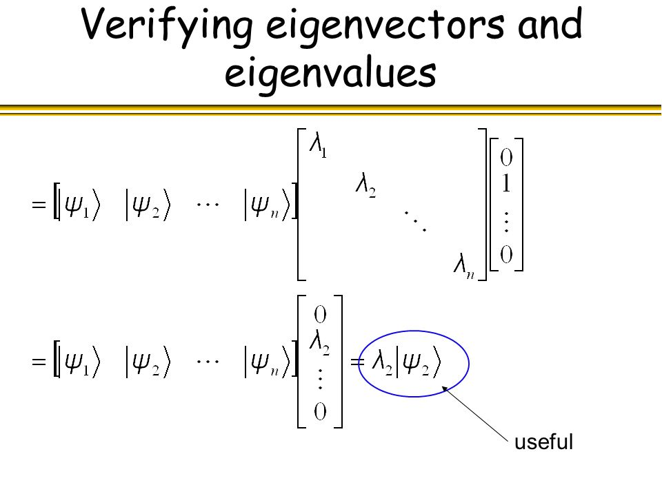 Verifying eigenvectors and eigenvalues