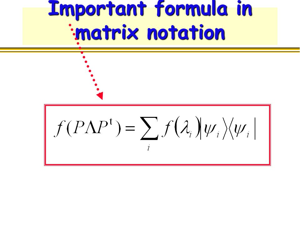 Important formula in matrix notation