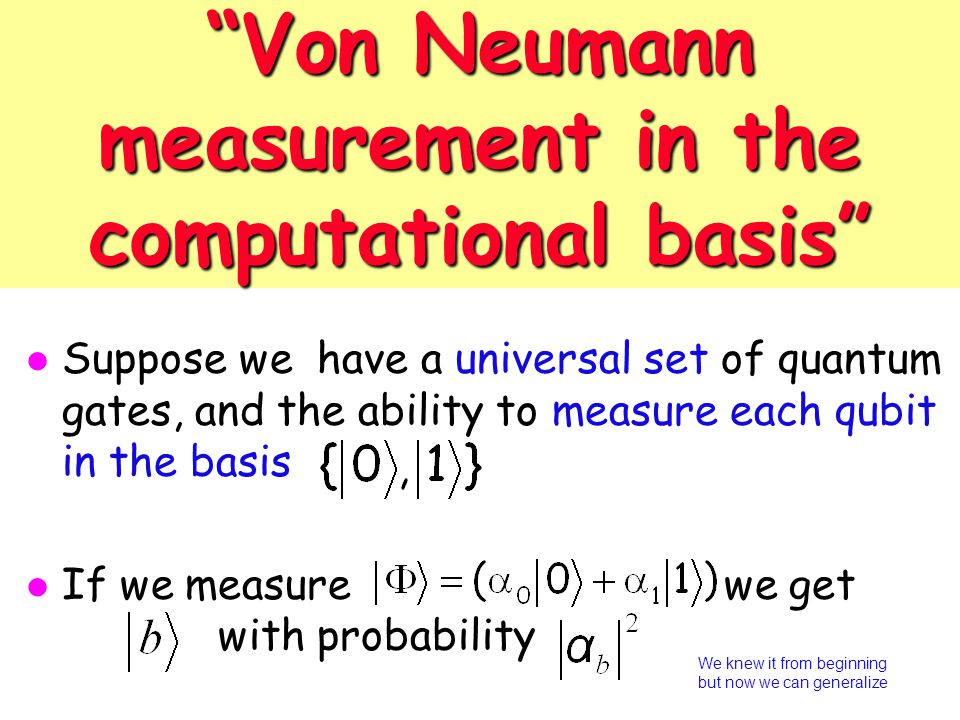 Von Neumann measurement in the computational basis