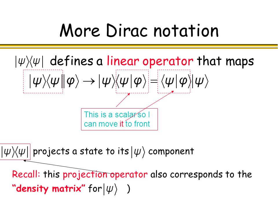 More Dirac notation defines a linear operator that maps