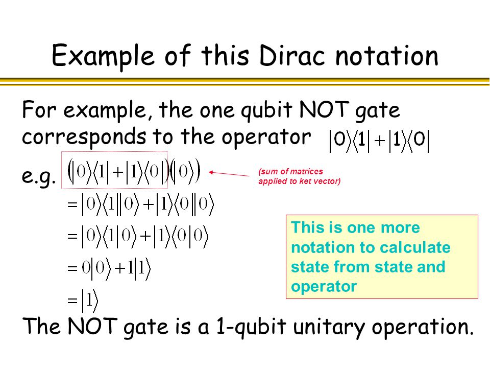 Example of this Dirac notation