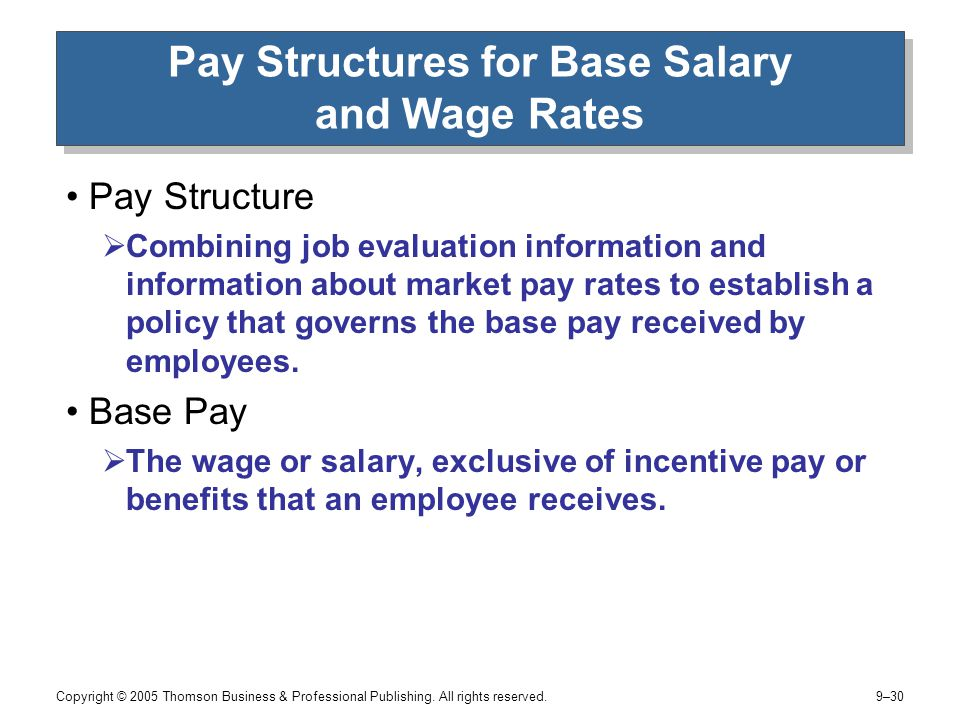 effect of market on pay rates and structures The pay policy line reflects the pay structure in the market, which does not always match rates in the organization d grouping jobs will result in rates of pay for individual jobs that do not precisely match the levels specified by the market and the organization's job structure.