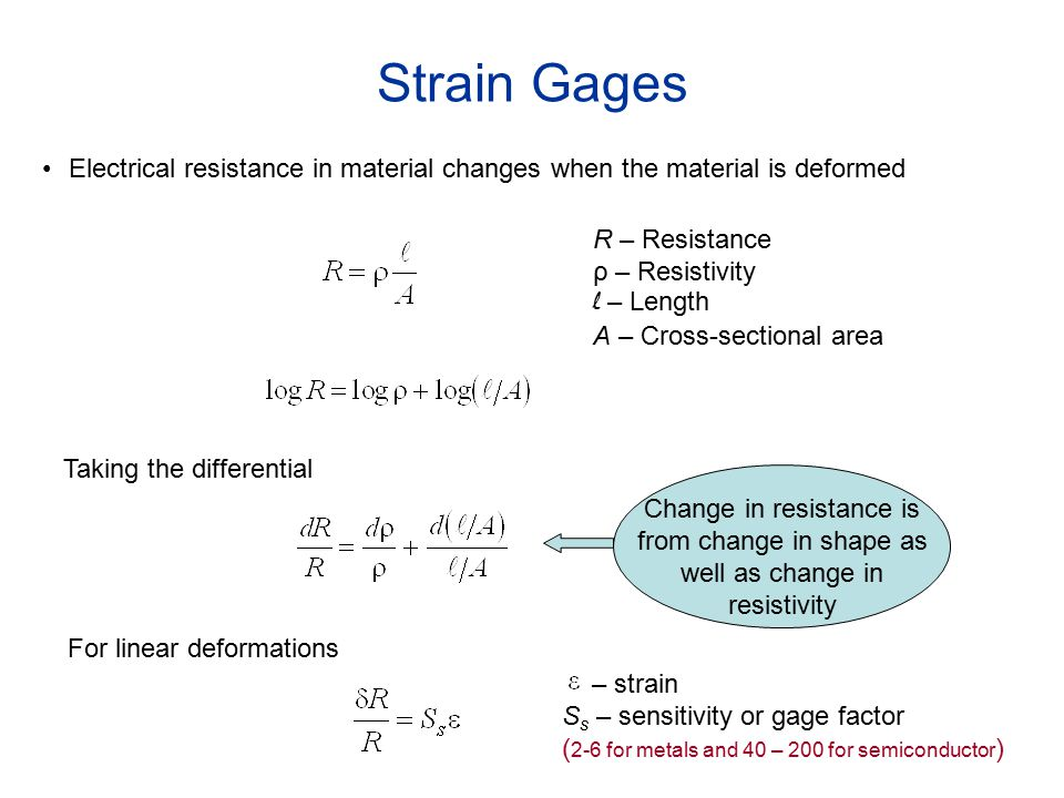 Strain Gages Electrical Resistance In Material Changes
