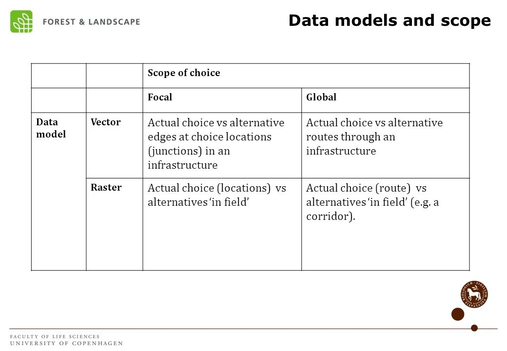 Data models and scopeScope of choice. Focal. Global. Data model. Vector.