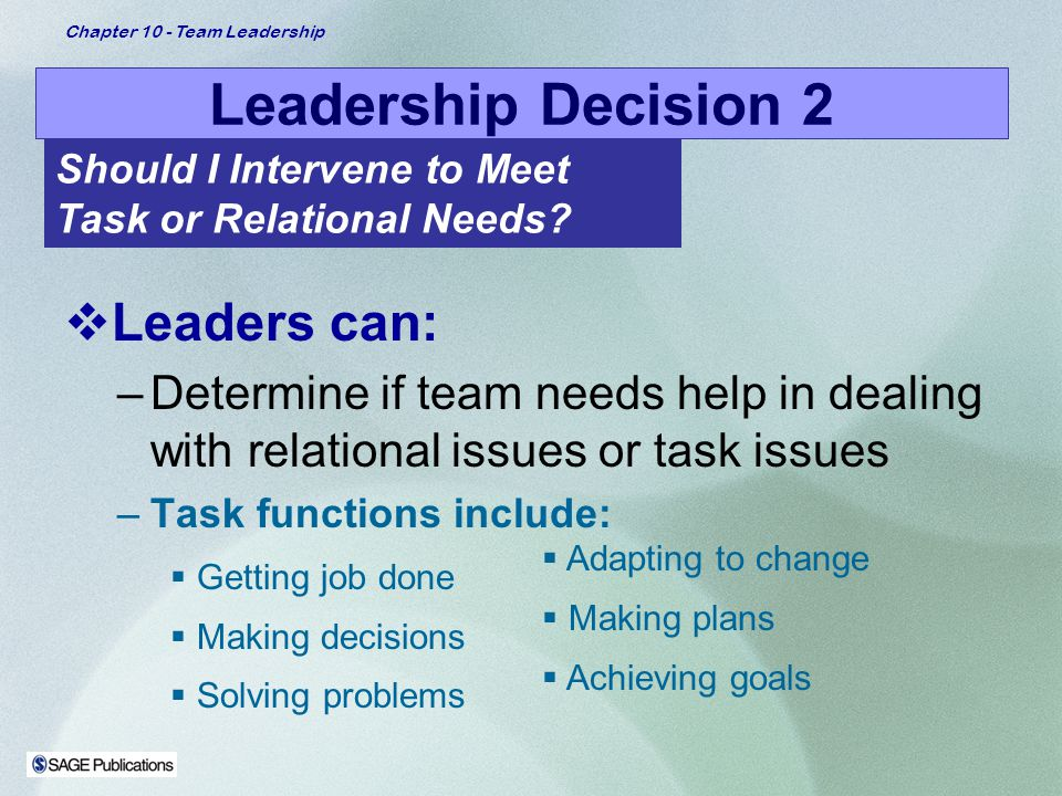 Leadership Decision 2 Leaders can: