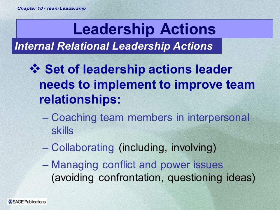 Leadership Actions Internal Relational Leadership Actions. Set of leadership actions leader needs to implement to improve team relationships: