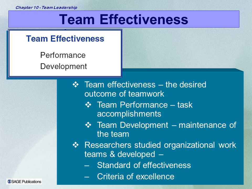 Team Effectiveness Team effectiveness – the desired outcome of teamwork. Team Performance – task accomplishments.