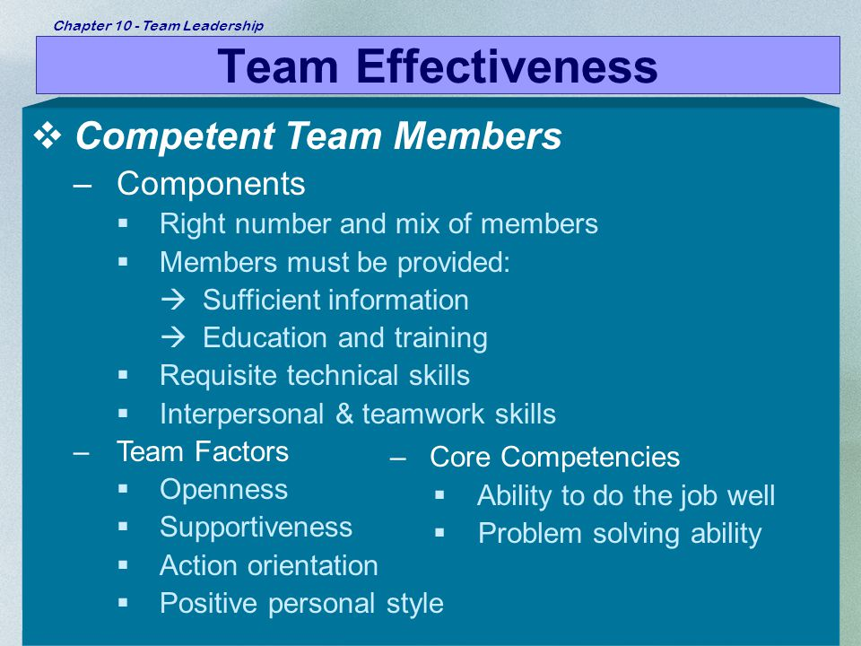 Team Effectiveness Competent Team Members Components