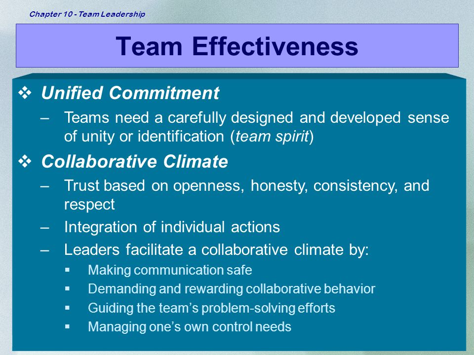 Team Effectiveness Unified Commitment Collaborative Climate
