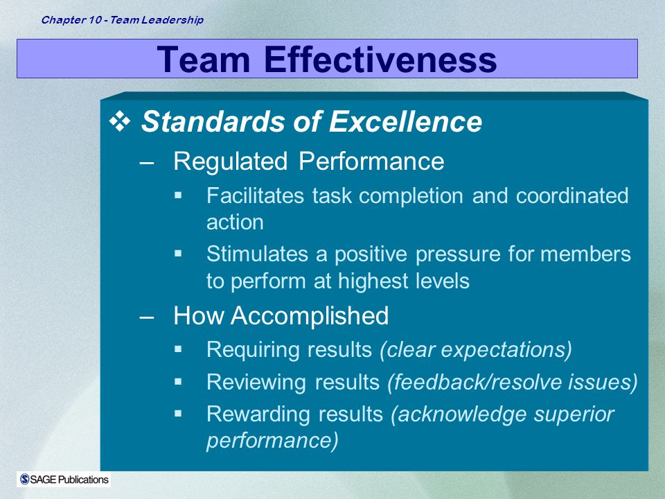 Team Effectiveness Standards of Excellence Regulated Performance