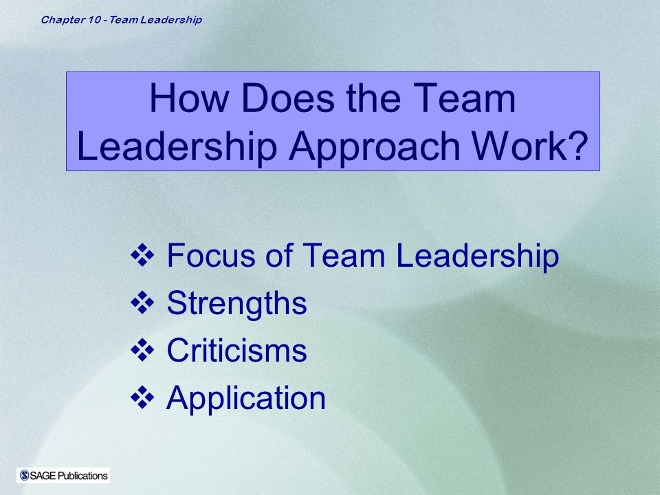 team leadership approach Team leaders ensure: there is shared leadership in teams and members are fully   approach, characterised by a consistency of vision, values, processes and.
