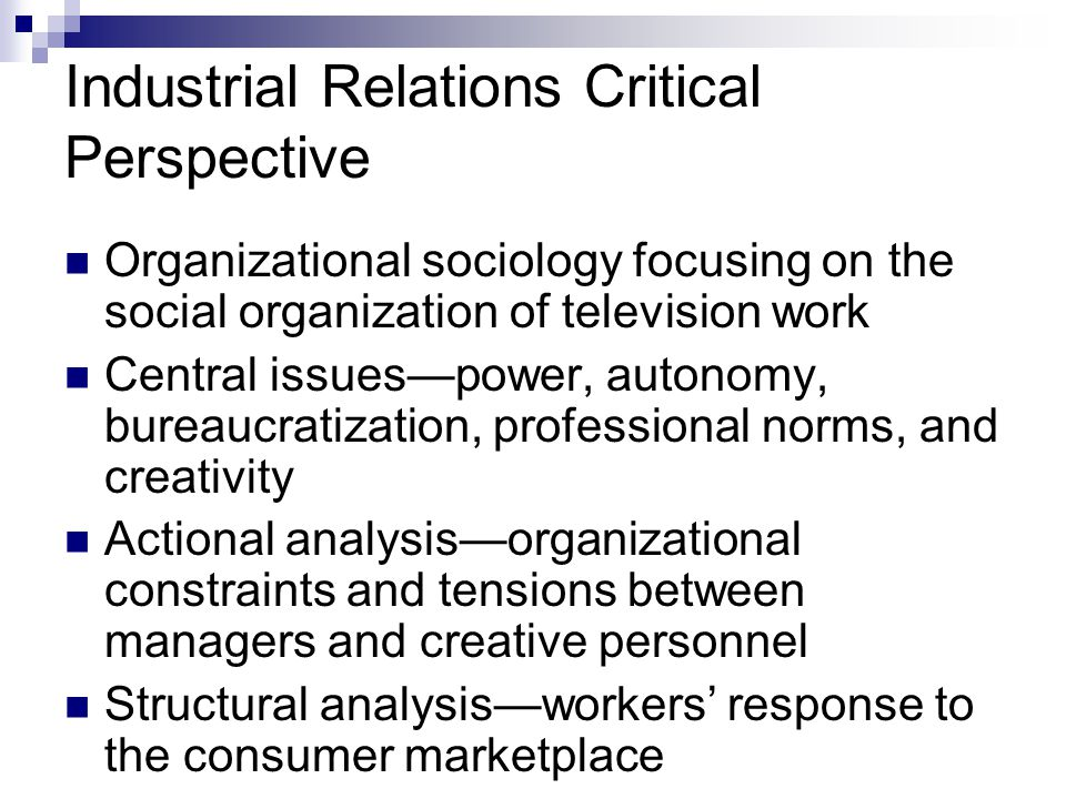 an analysis of the marxist approach to work sociology Sociology 610 prof val burris winter 2011 730 plc, 346-5001 vburris@uoregonedu class analysis: theory, research, debates this seminar will provide an overview of theory and research in the area of class analysis.