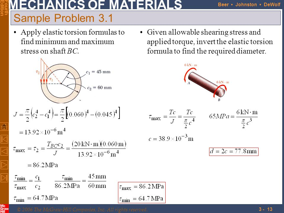 Sample Problem 3.1 Apply elastic torsion formulas to find minimum and maximum stress on shaft BC.