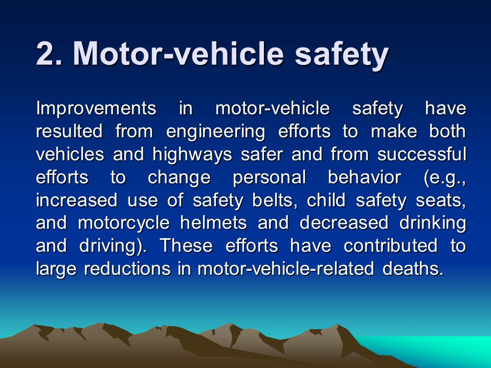 Definition of public health ppt video online download Motor vehicle safety