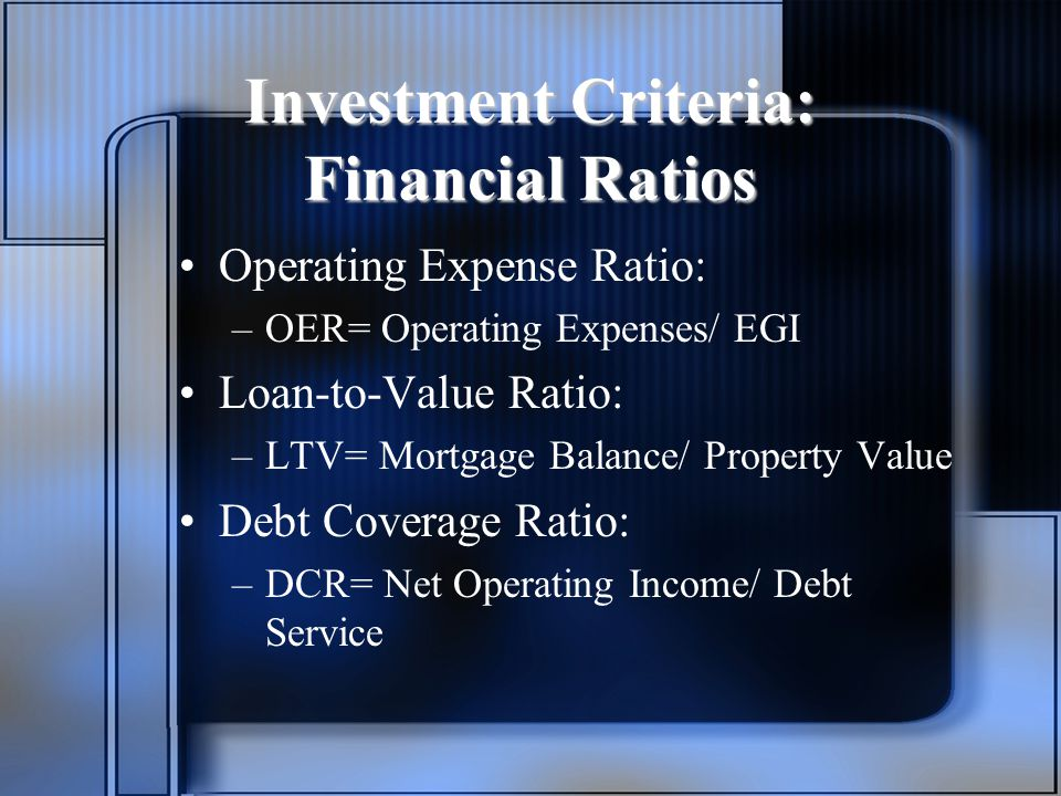 Investment Criteria: Financial Ratios