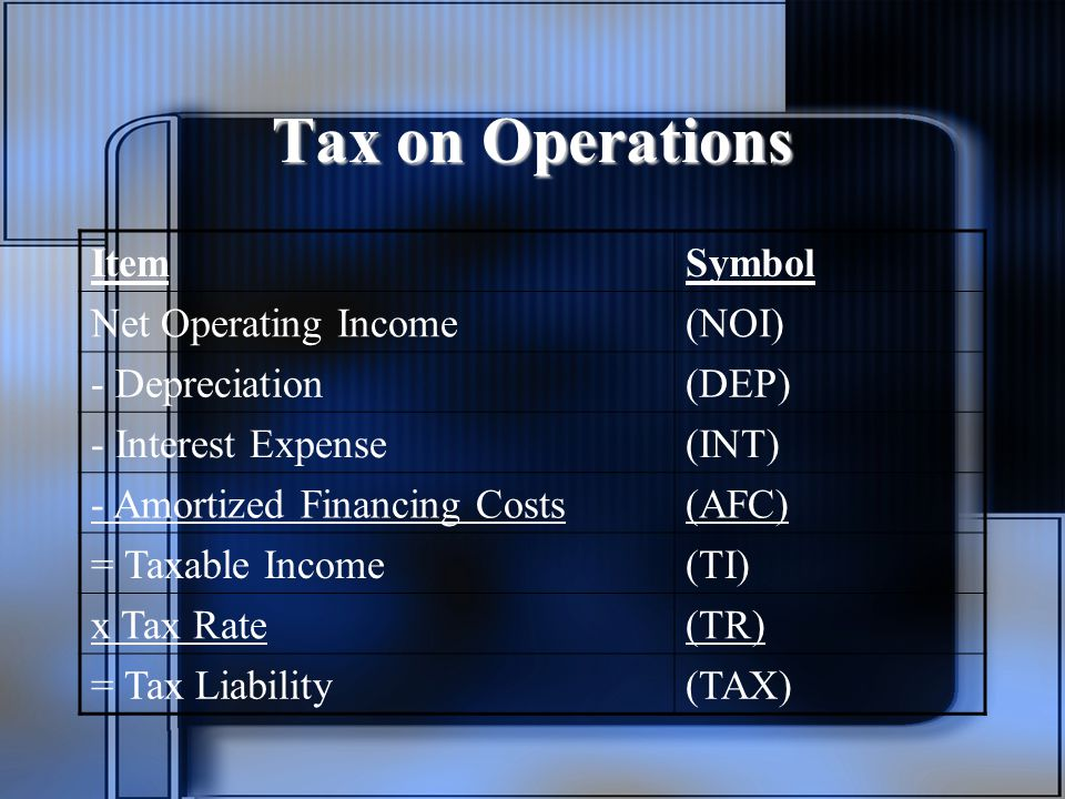 Tax on Operations Item Symbol Net Operating Income (NOI)