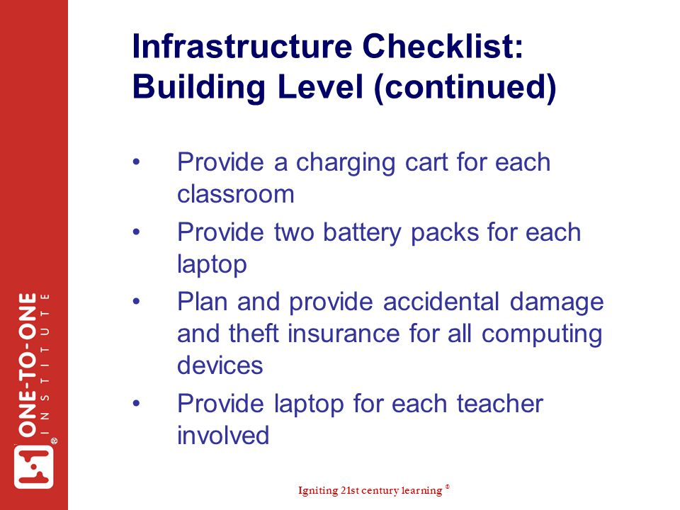 Infrastructure Checklist: Building Level (continued)