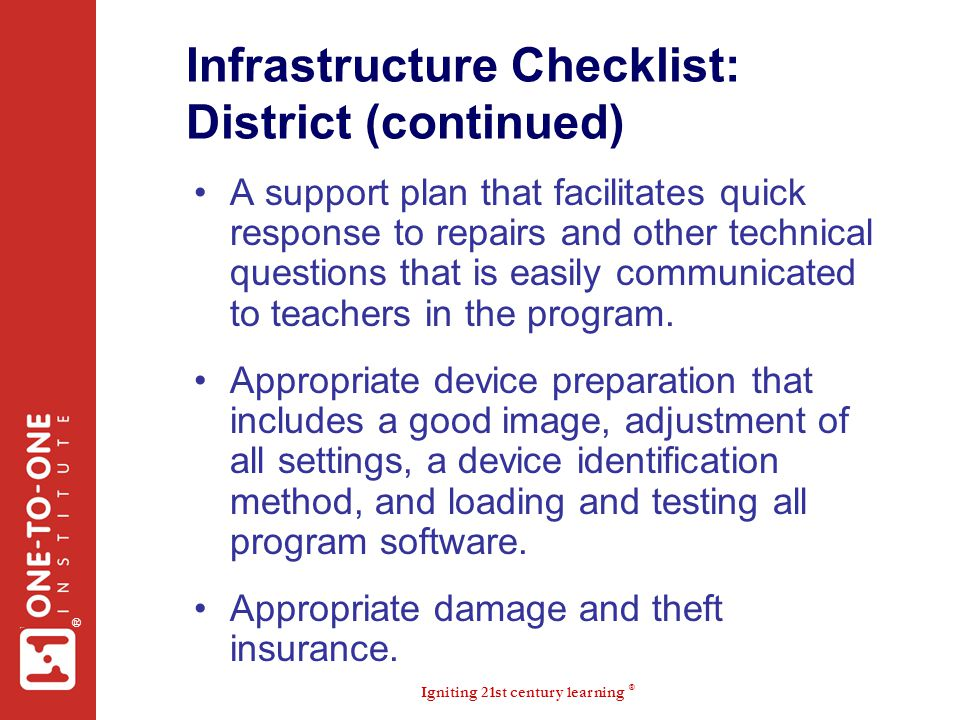 Infrastructure Checklist: District (continued)