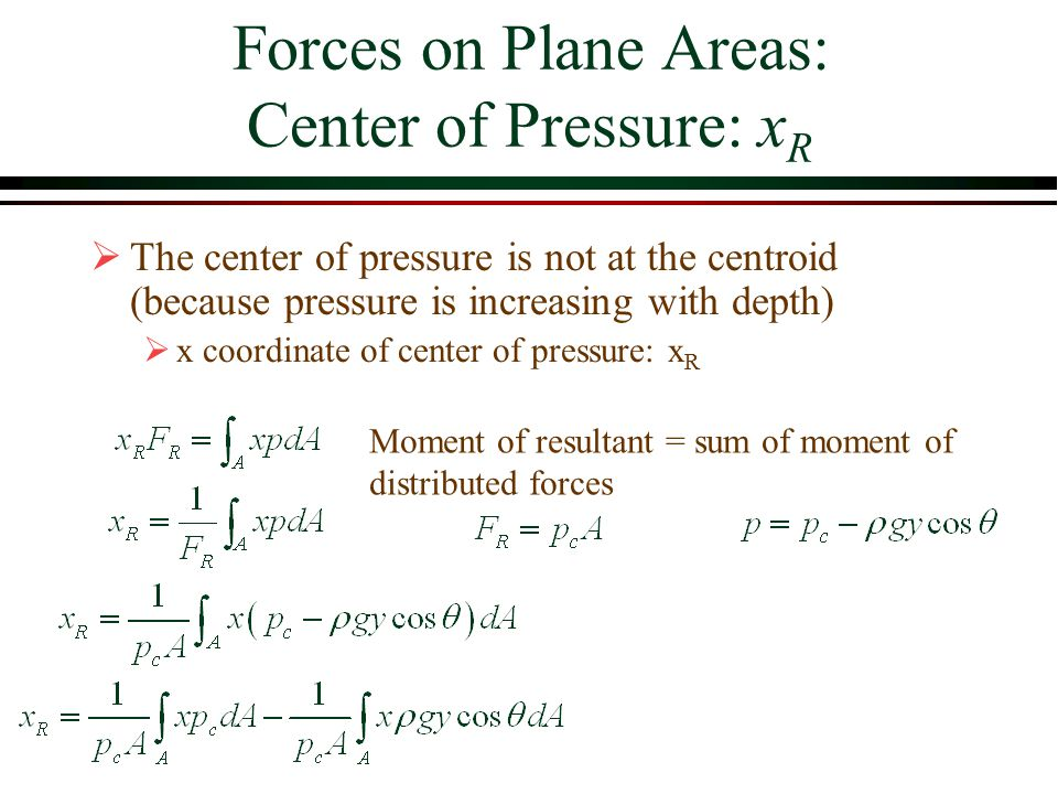 Forces on Plane Areas: Center of Pressure: xR