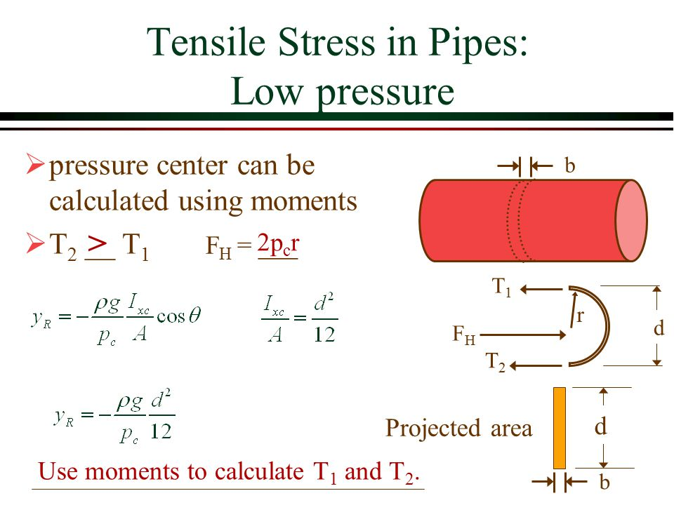 Tensile Stress in Pipes: Low pressure