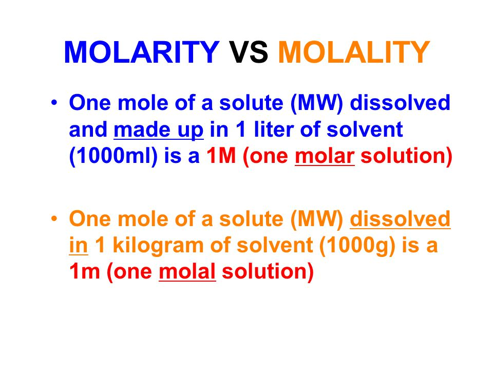 what is the relationship between molarity and molality