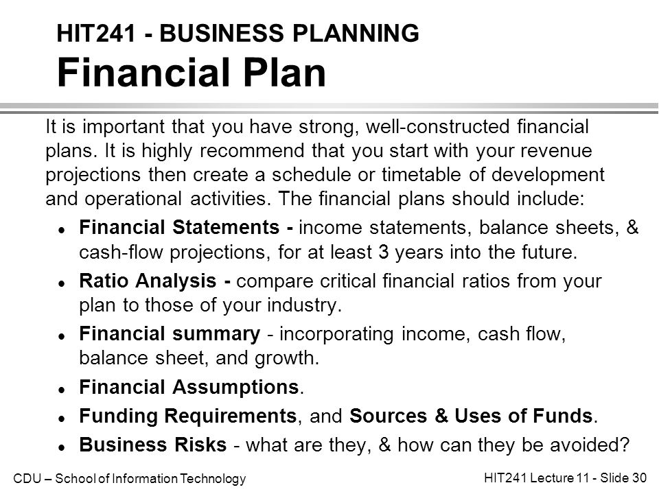 financial summary of business plan