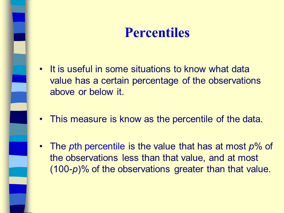 Percentiles It is useful in some situations to know what data value has a certain percentage of the observations above or below it.