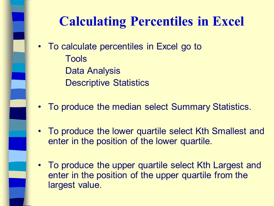 Calculating Percentiles in Excel