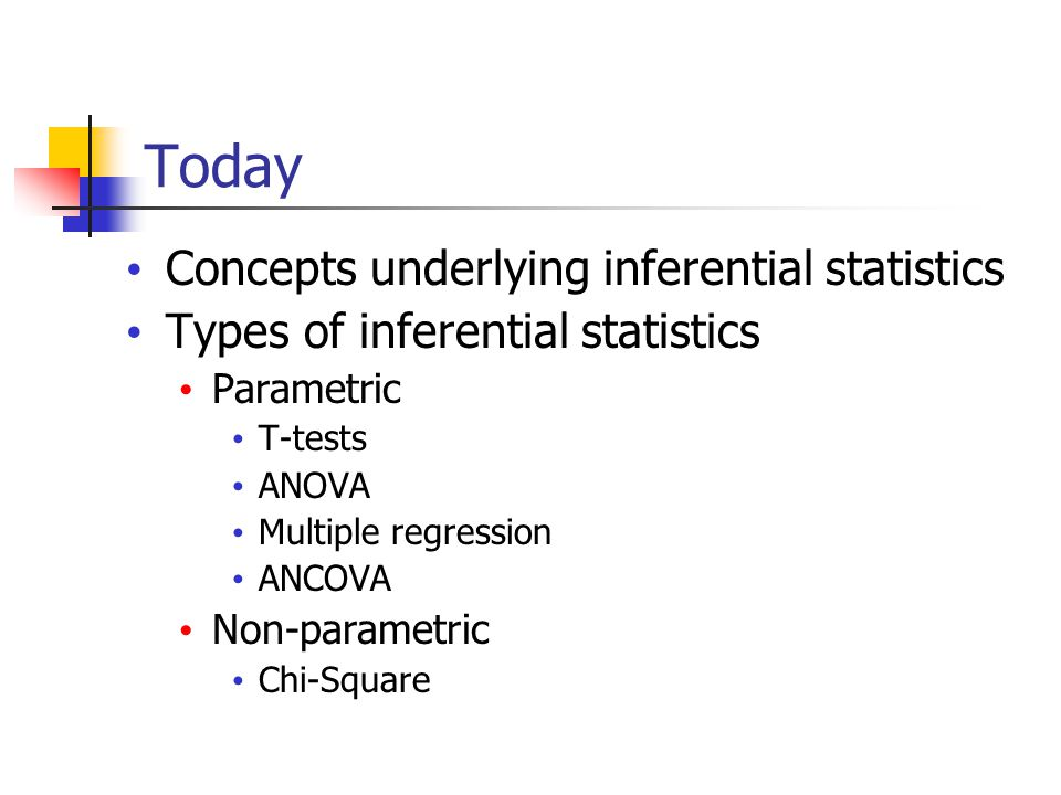 Today Concepts underlying inferential statistics