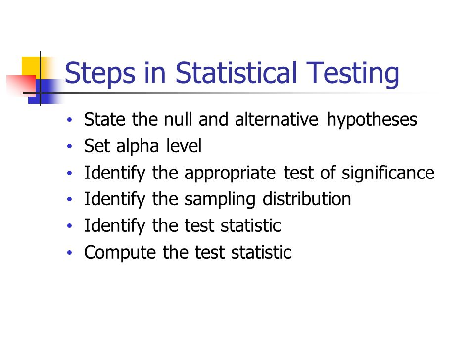 Steps in Statistical Testing