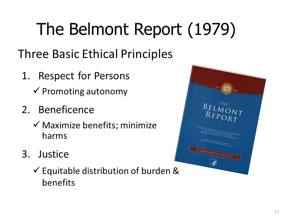 The Belmont Report (1979) Three Basic Ethical Principles