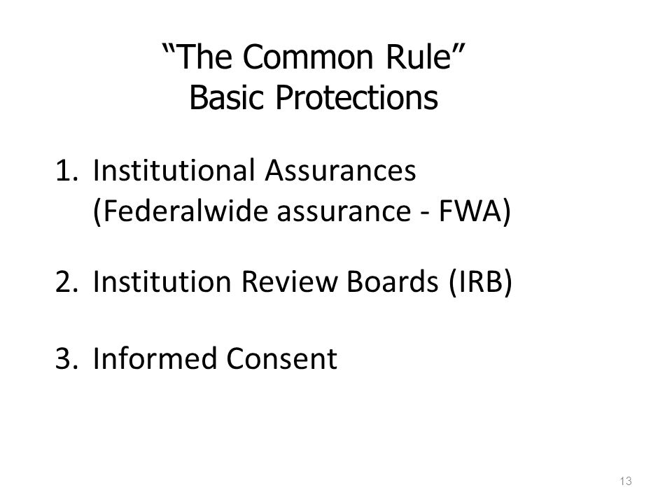 The Common Rule Basic Protections