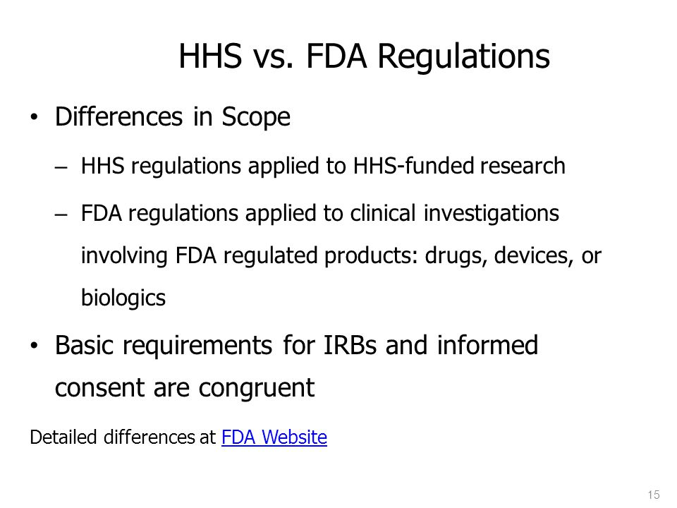 HHS vs. FDA Regulations Differences in Scope
