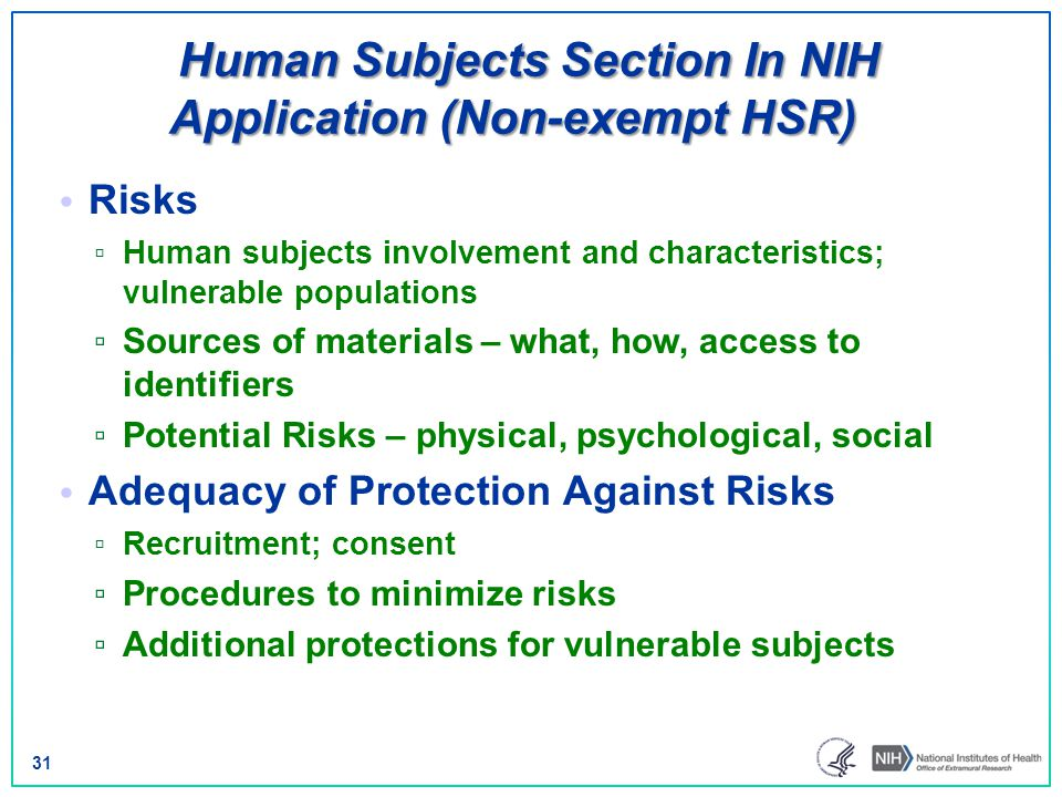 Human Subjects Section In NIH Application (Non-exempt HSR)