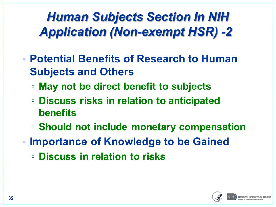 Human Subjects Section In NIH Application (Non-exempt HSR) -2