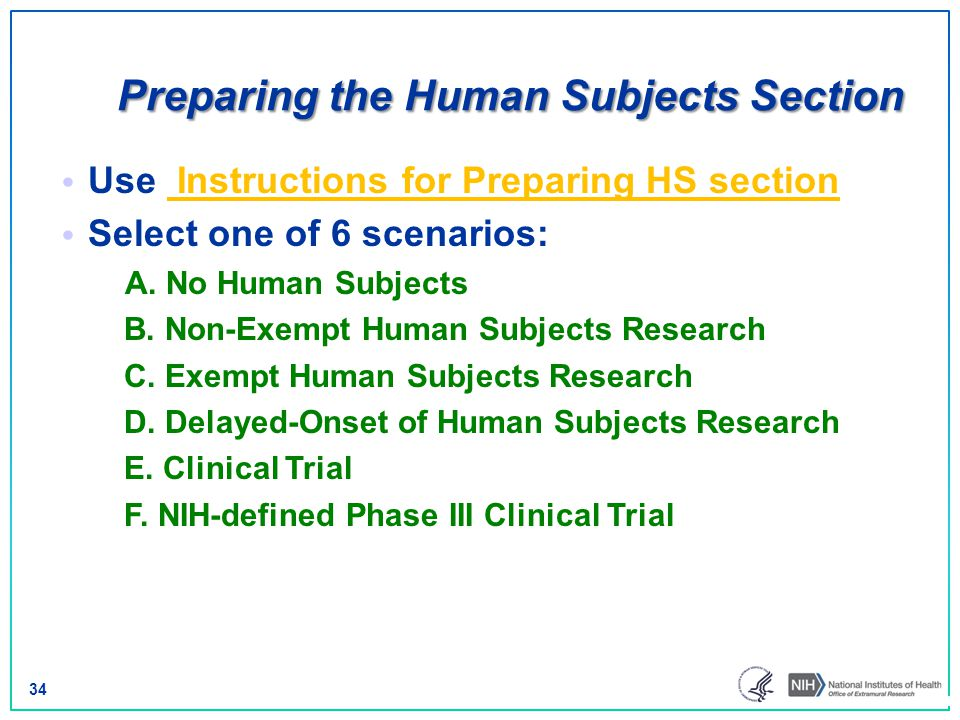 Preparing the Human Subjects Section