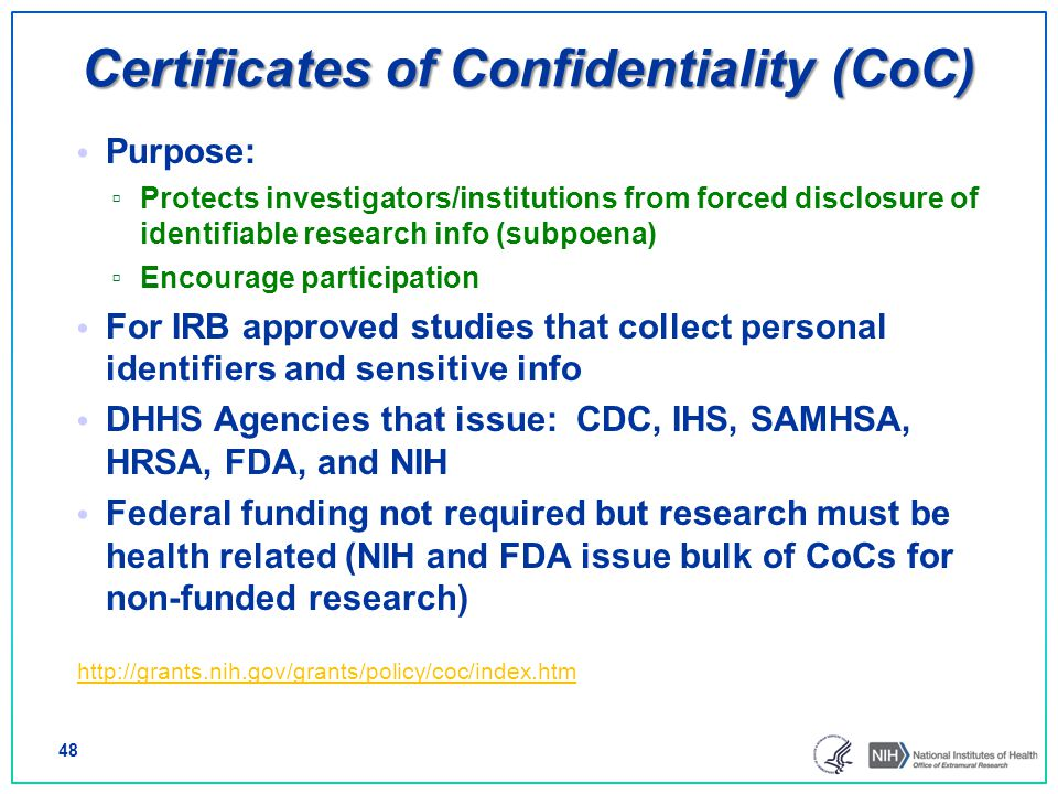 Certificates of Confidentiality (CoC)